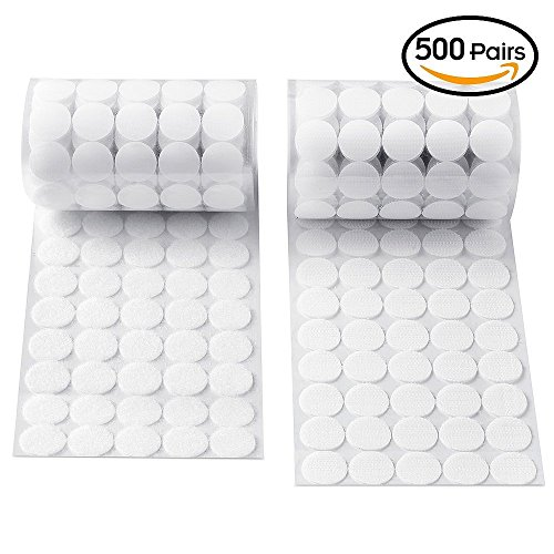 Heze 1000 Pcs  500 Pair Sets  20Mm Diameter Sticky Back Coins Hook   Loop Self Adhesive Dots Tapes  White