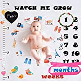 Swonuk Baby Monthly Milestone Blanket Photography Props Backdrop for Newborn Boy&Girl, Infant Swaddling Shower Gift for New Mom with 1-12 Month Babies, (Frame&Headband&Small Blackboard Included