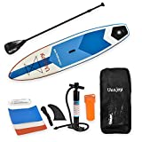 Uenjoy 11' Inflatable Stand Up Paddle Board (6 Inches Thick) Non-Slip Deck Adjustable Paddle Backpack,Pump, Repairing kit, Blue