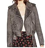 SportsX Women Zip Suede Nap Jacket Coat Jacket Short Tops Blouse Coat Jacket Grey M