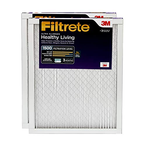 Filtrete 20x25x1, AC Furnace Air Filter, MPR 1500, Healthy Living Ultra Allergen, 2-Pack (Best Hvac Air Filter Brands)