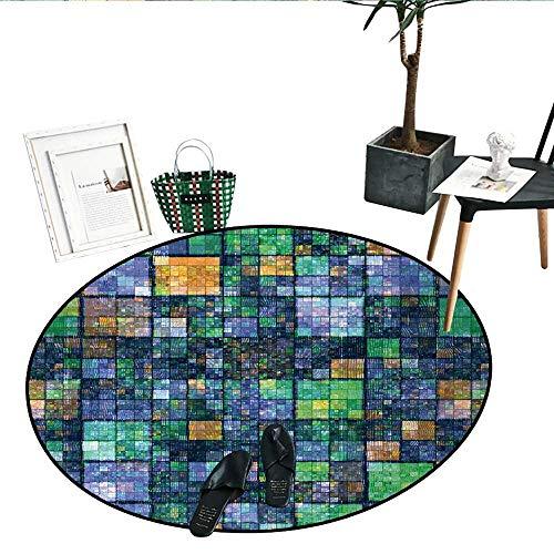 (Modern Print Area Rug Mosaic Geometric Design Rainbow Colors Patchwork Like Design Artwork Indoor/Outdoor Round Area Rug (43