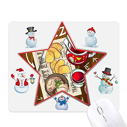 teak France Christmas Snowman Family Star Mouse Pad ()