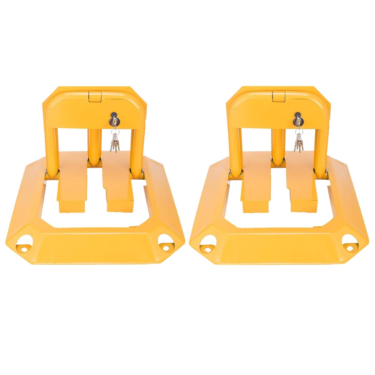 2 x Noveste Parking Barrier Manual Including 5 Keys 56 x 46.5 x 32 cm Yellow