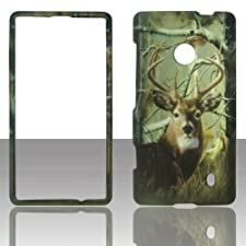 Camo Realtree Buck Deer 2D Rubberized Design for Nokia Lumia 521 Cell Phone Snap-On Hard Protective Case Cover Skin Faceplates Protector