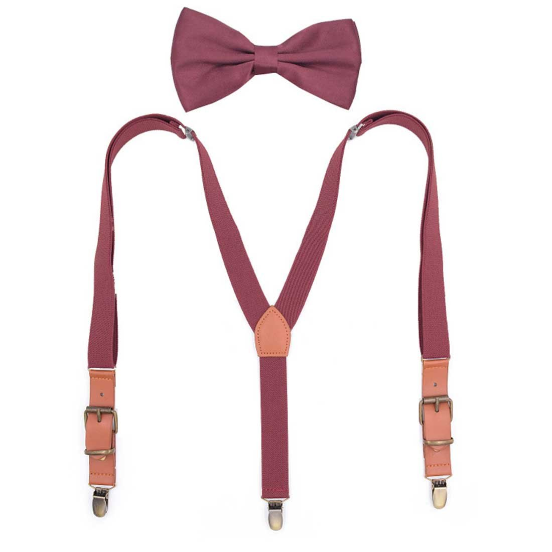 Romanlin Suspenders and Bow Tie Set for Kids Adjustable Elastic Y Back Suspender Outfits for Wedding Party (Burgandy)
