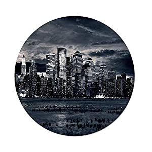 iPrint Polyester Round Tablecloth,City,Dramatic View of New York Skyline from Jersey Side Clouds Buildings,Charcoal Grey Black White,Dining Room Kitchen Picnic Table Cloth Cover,for Outdoor Indoor