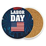 Coasters for Drinks,Happy Labor Day Ceramic Round Cork Trivet Heat Resistant Hot Pads Table Cup Mat Coaster-Set of 2 Pieces