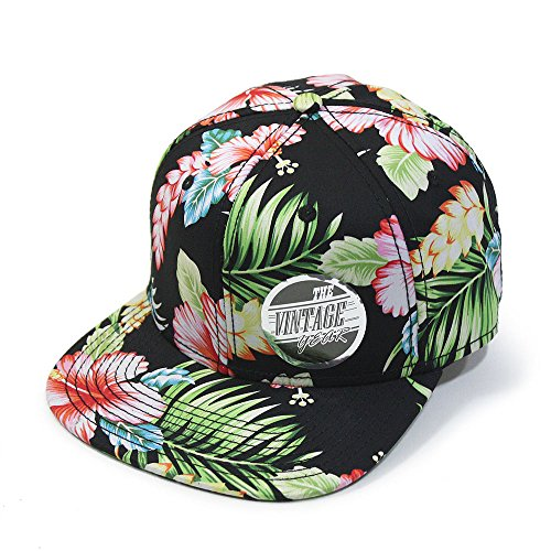 Premium Floral Cotton Twill Adjustable Flat Bill Snapback Hats Baseball Caps (Varied Colors) - Snapback Men's Floral