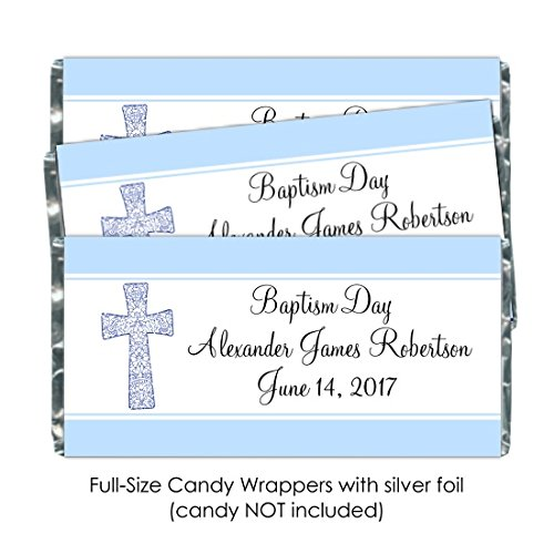 25 Baptism Candy Wrappers, Christening or Baptism Day Custom Wrappers (Chocolate Photo Birth Announcement)