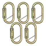 Fusion Climb Ovatti Military Tactical Edition Steel Auto Lock Oval Symmetrical Anchor Carabiner with Captive Eye Pin Gold 5-Pack