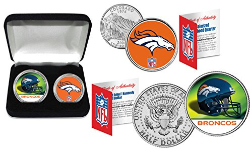 - DENVER BRONCOS Officially Licensed NFL 2-COIN U.S. SET w/ Deluxe Display Box
