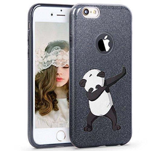 iPhone 6plus 6S Plus case Glitter Bling Protective case Soft Panda TPU Cover + Glitter Paper + PP Inner Layer (iPhone 6 Plus 6s Plus, Black)