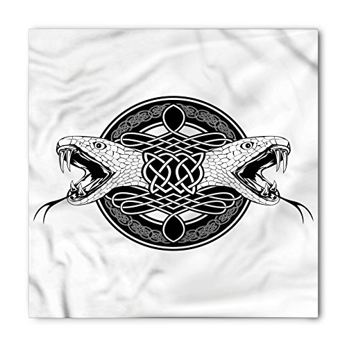 Lunarable Celtic Bandana, Heads of Two Snakes Tribal, Unisex Head and Neck Tie
