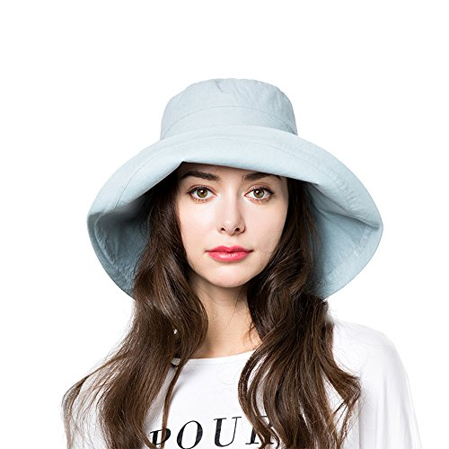Sun Bucket Hat Women Summer Floppy Cotton Sun Hats Packable Beach Caps SPF 50+ UV Protective(B6-Water ()