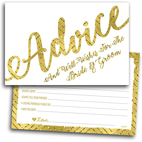 50 Wedding Advice Cards & Well Wishes for the Bride and Groom - Bridal Shower Games, Wedding Games, Wedding Decorations, Wedding Guest Book Alternative - Long Menu Card