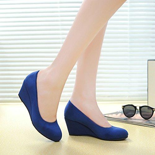 Femenino Zapatos De Y Cabeza De Individual Tela Pendiente Salvaje Zapatos Old Comodo Periodo Otoño Talón De blue Pequeño Redonda Beijing Primavera Zapatos Ciudad Tooling GTVERNH Resbaladizo qA61SR