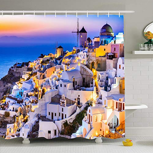 Ahawoso Shower Curtain 72x72 Inches Santorini Church Oia Greece Idyllic Attraction Cupola White Aegean Islands Sea Amazing Design City Waterproof Polyester Fabric Set with Hooks]()