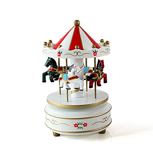 Aparts Hand-painted Wooden Carousel Music Box Merry-Go-Round Horse Music Box Kids Children Girls Christmas Birthday Gift Toy Wedding Decor (White)