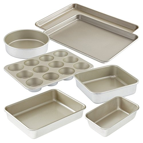 American Kitchen Cookware 7-pc Nonstick Bakeware Set: 15 inchx10.5 inch Baking Sheet, Large 18 inchx13 inchJelly Roll Pan, Loaf Pan, 9 inchx13 inch Pan, 12-cup Muffin Pan, 9 inch Square Pan, 9 inch Round Pan; PFOA Free; Made in USA