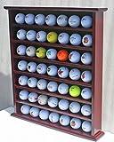 Golf Gift 49-Golf Ball Display Case Cabinet Rack, No Door, Mahogany Finish