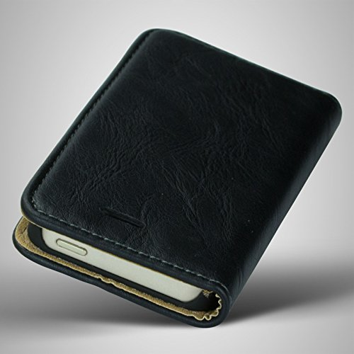 Apple iPhone 5S / 5 Echt Leder Tasche Bookstyle flip case Schutzhülle Schwarz von cTRON21