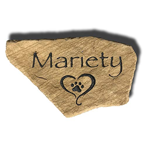 Accent Direct Personalized Pet Memorial Stone | Custom Engraved Natural Stone | Grave Marker, Garden Stone, Desk or Shelf, Indoor or Outdoor | Color – Watermark Sienna
