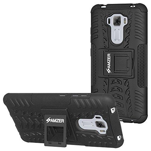 AMZER Hybrid Warrior Dual Layer Slim Protective Shockproof Case for Asus ZenFone 3 Laser ZC551KL - Black