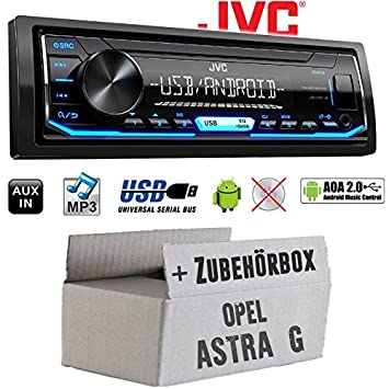 USB Einbauset f/ür Opel Astra F Einbauzubeh/ör Autoradio Radio JVC KD-X151 MP3 JUST SOUND best choice for caraudio Android 4x50Watt