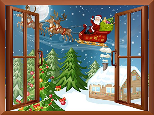 Cartoon Santa Claus and Reindeers Flying over The Snow Peel and Stick Removable Window View Wall Sticker Wall Mural