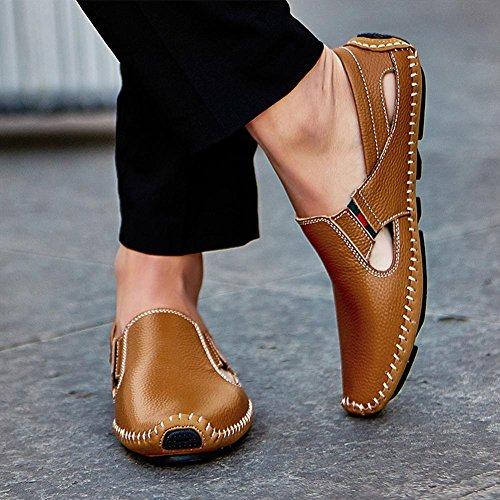 40 Hechos 43 Sandalias Cómodos Fftx Cuero Brown Para Y De Usar La A Zapatos Manera Arena Hombre Playa Verano Mano 0qwqTd