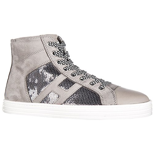 Shoes Sneakers Suede laterale r141 high top Hogan Women's Trainers pailett Rebel EpqTwy40