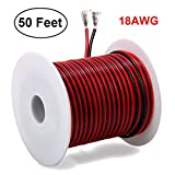 50FT 18 AWG Gauge Electrical Wire, Premium DC 12v Hookup Red Black Copper Stranded Auto 2 Cord, Flexible Extension Cable with Spool for LED Ribbon Lamp Light or Low Voltage Products by MILAPEAK