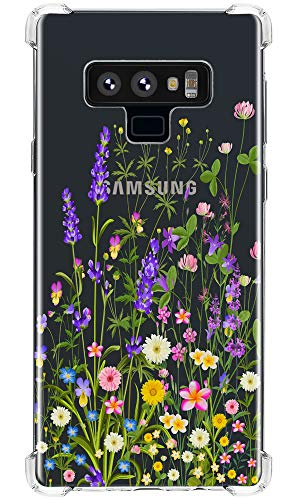 olorful Flowers, IiEXCEL Cute Colorful Grass Underbrush Lavender Floral Pattern Clear TPU Bumper Protective Case for Samsung Galaxy Note 9 - Grass Colorful 4 ()