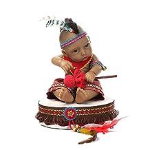 "Terabithia Mini 11"" Black Realistic Reborn Baby Dolls Kits Silicone Full Body Native American Indian Girl"