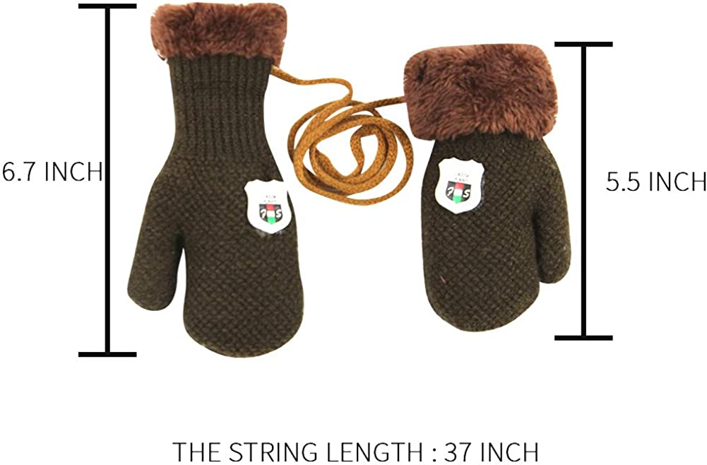 3 Pairs Toddler Gloves Boys Girls Winter Fleece Lined Mittens Kids Winter Warm Thicken Knit Gloves with String