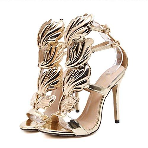 Omiky® Damen Pumps Leaf Flame High Heel Schuhe Peep Toe High Heels Sandalen Gold