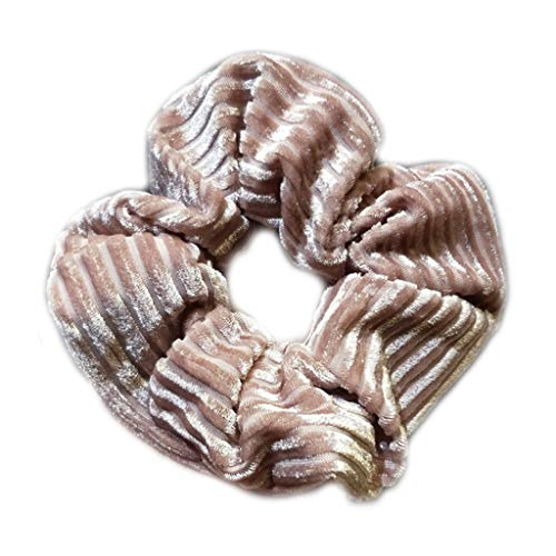 RingBuu Hair Rope - Women Girls Modern Simple Ruched Rubber Band Glitter Corduroy Velvet Solid Color Large Intestine Hair Rope Stripes Textured Scrunchies Ponytail Holder 4 Colors (Pink)