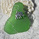 Custom Surf Tumbled Sea Glass Ornament with a Silver Elephant Charm - Choose Your Color Sea Glass Frosted, Green, and Brown.