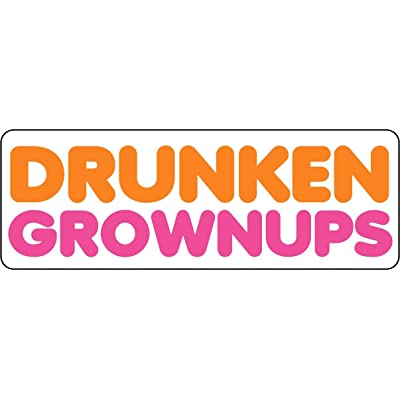Drunken Grownups Funny Vinyl Sticker 5 Inch: Kitchen & Dining