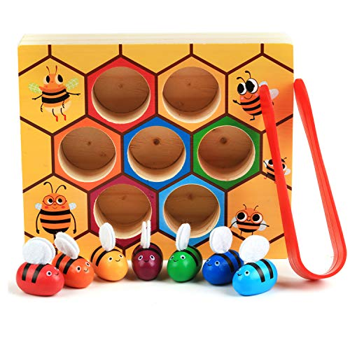 Fansport Toddler Baby Bee Hive Preschool Wooden Toys,Bee Toy,Motor Skills Toys for Toddlers for Baby Early Educational Toddler Montessori Game Motor Skills Toy Review