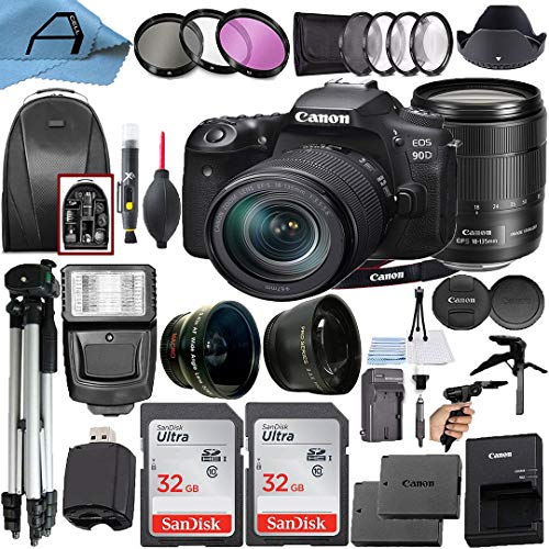 Canon EOS 90D DSLR Camera 32.5MP Sensor with EF-S 18-135mm Lens + 2 Pack SanDisk 32GB Memory Card + Backpack + Full Size…