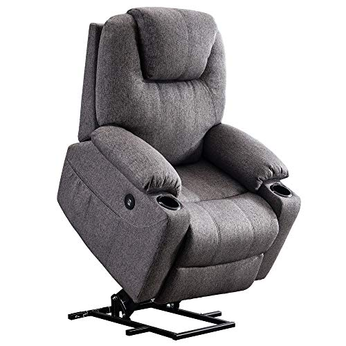 Mcombo Electric Power Lift Recliner Chair Sofa with Massage and Heat for Elderly, 3 Positions, 2 Side Pockets and Cup Holders, USB Ports, Fabric 7040 (Medium, Gray)
