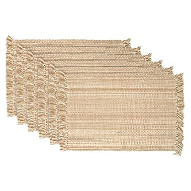 DII 100% Cotton, Tonal Fringe, Variegated, Machine Washable, Everyday Kitchen Basic Placemat, Set of 6, Taupe