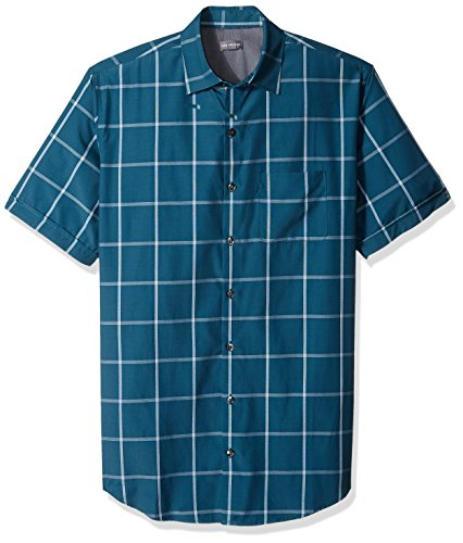 Van Heusen Men's Size Big and Tall Air Short Sleeve Button Down Poly Rayon Windowpane Shirt, Turquoise Low Tide, - Van Windowpane Heusen