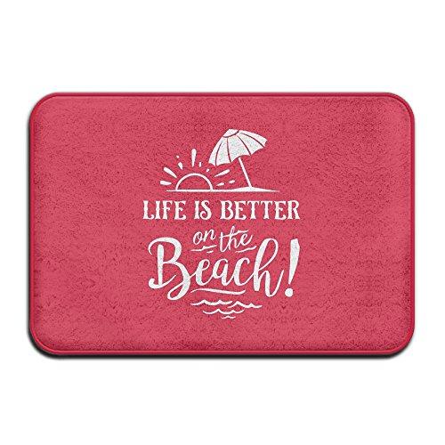 Coral Velvet Kitchen Mat Life Is Better On The Beach Welcome Floor Mats