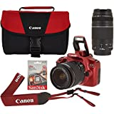 Canon EOS Rebel T6 Digital SLR Wi-Fi Camera Limited Edition Kit with EF-S 18-55mm and EF 75-300mm Zoom Lenses (Red)