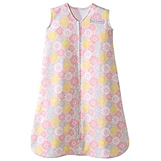 HALO Sleepsack 100% Cotton Wearable Blanket, Grey and Pink Flowers, Small, 0-6M