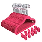 Finnhomy Non-slip Clothes Hanger for Baby and Kids 30-Pack Velvet Hangers with 10 Finger Clips,Pink