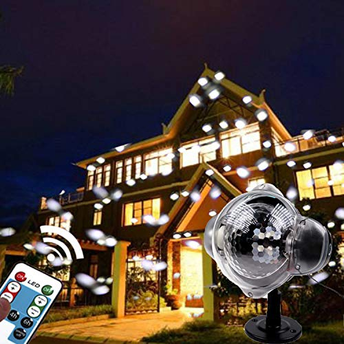 Low Voltage Mini Projector (YAMADIE Mini Snow Light ED Projector Christmas Outdoor Dynamic Snow Projector Remote Control Rotating Light Waterproof Outdoor LED IP65 Waterproof 171211cm)